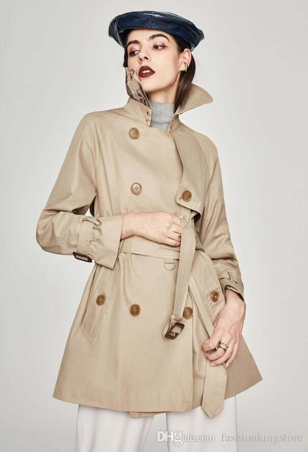 Classic women trench coat 2019 spring autumn fashion England double breasted trench for women Outerwear With Belt w190