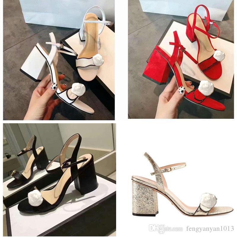 2018 scarpe di qualità in stile europeo importate sandali femminili in pelle firmati hanno etichetta pantofole femminili moda donna tacchi alti nero bianco