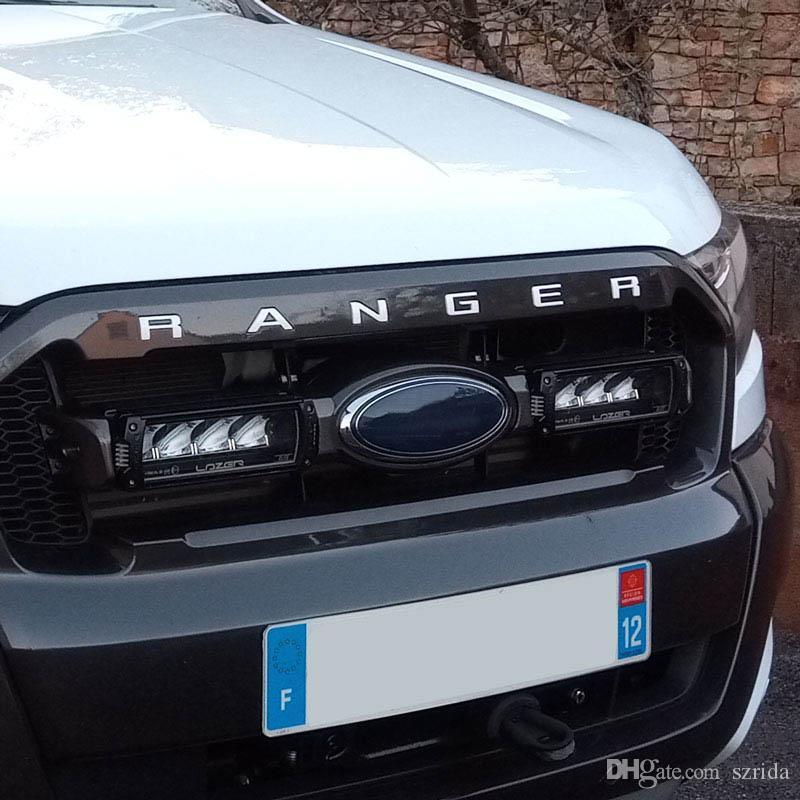 Para Ford Ranger 2015-2019 rejilla superior del logotipo Tamaño Carta Grill RANGER 3D del emblema de la etiqueta engomada original del ABS con pegamento cromo Styling