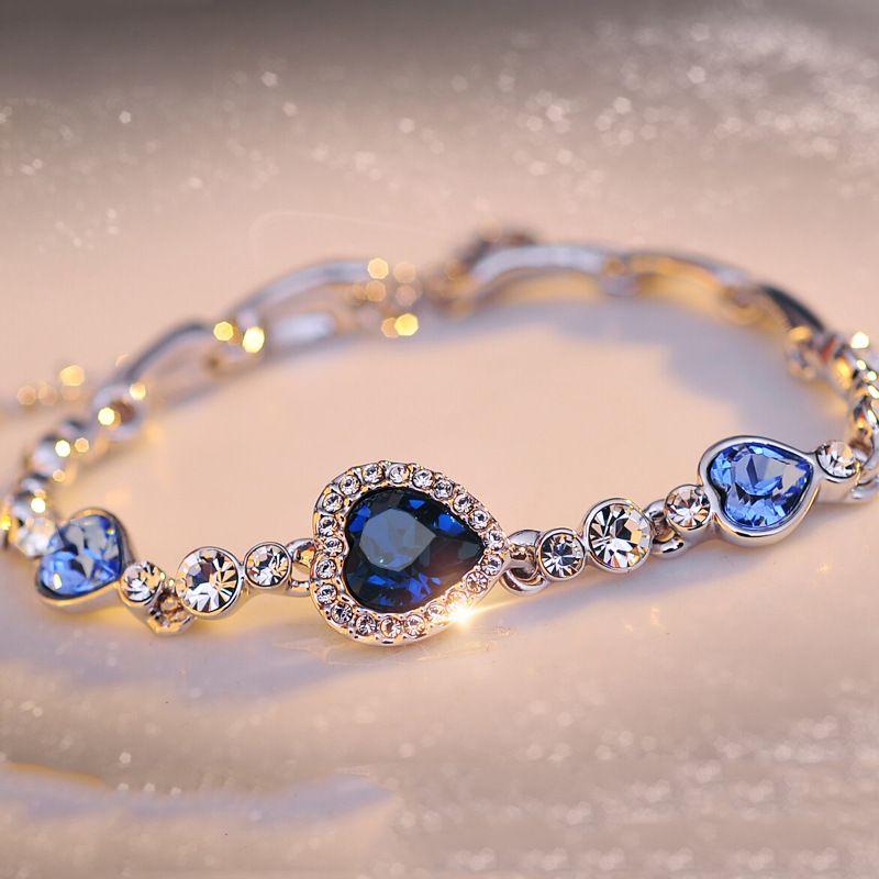 Venta al por mayor directa en forma de corazón amor corazón de joyería de Austria pulsera de moda de diamante de cristal