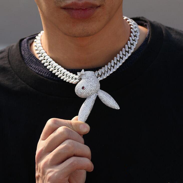 de haute qualité Hip Hop Glacé Grand animal Lapin Pendentif Collier avec 12mm cubain Lien chaîne d'argent plaqué Zircon Hip Hop Bijoux homme Coffrets cadeaux