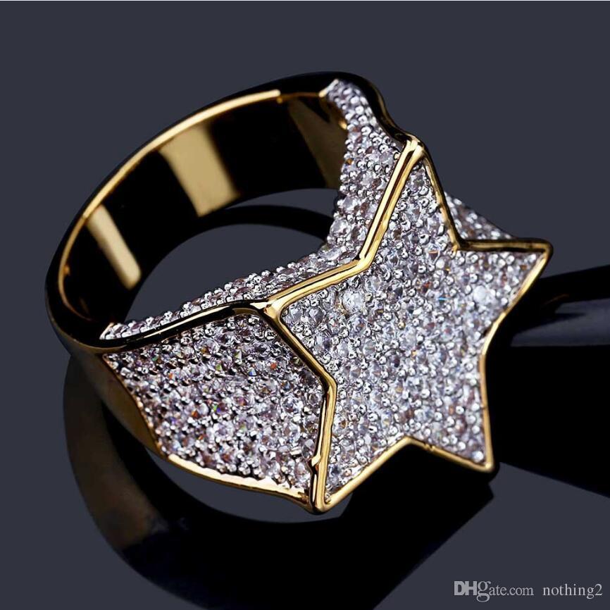jóias hip hop anéis de cinco pontas anéis de zircão estrela de punk para os homens moda quente livre do transporte