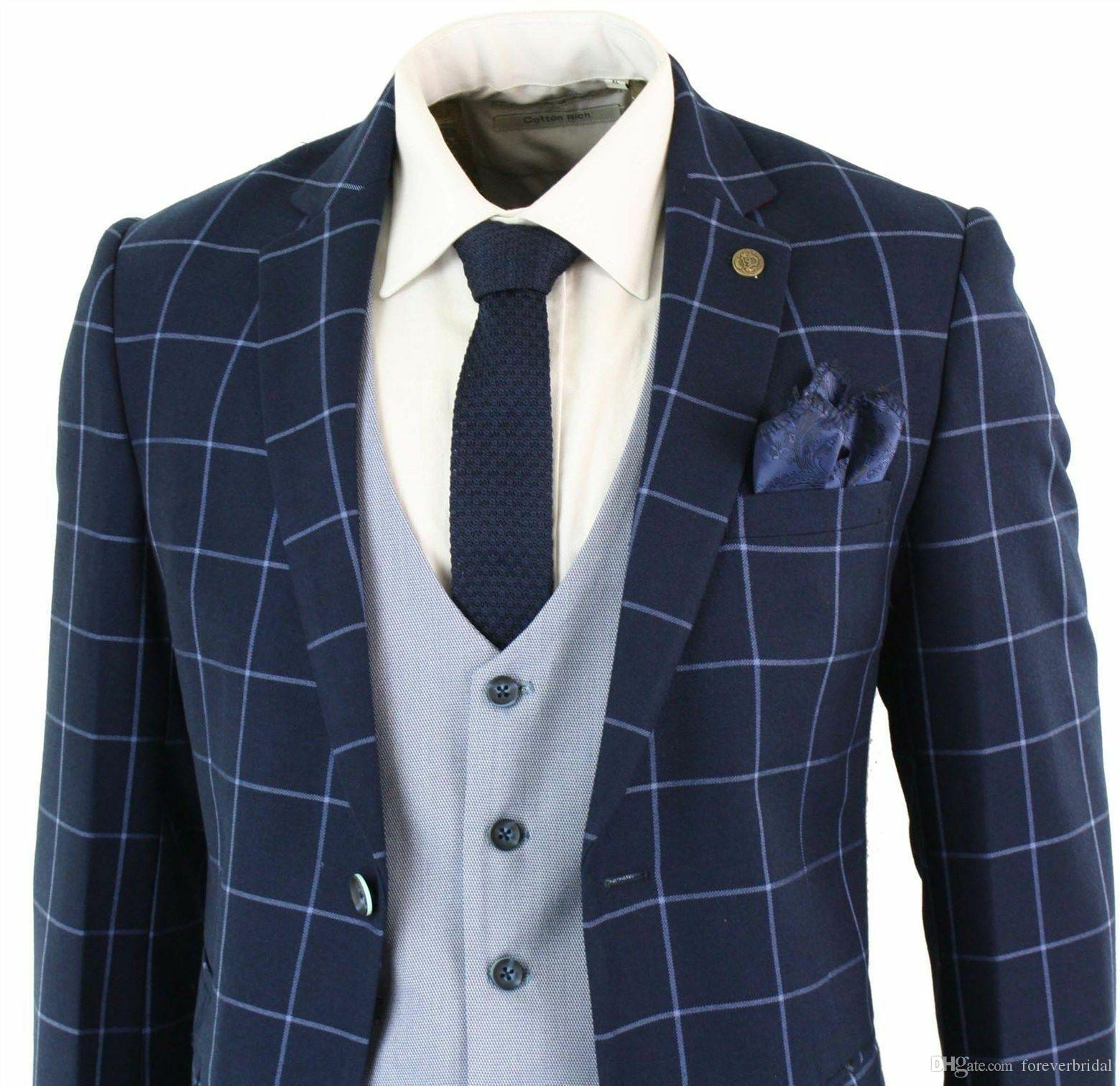 Classical Mens 3 Pieces Navy Blue Check Tailored Peak Lapel Tuxedo Elegant Pocket Slim Fit Suit