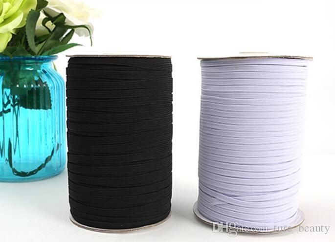 200yards / preto e branco Nylon elásticos qualidade cinto elástico 1/8 Skinny Elastic 3 milímetros Largura para as calças de vestuário costura acessórios DIY