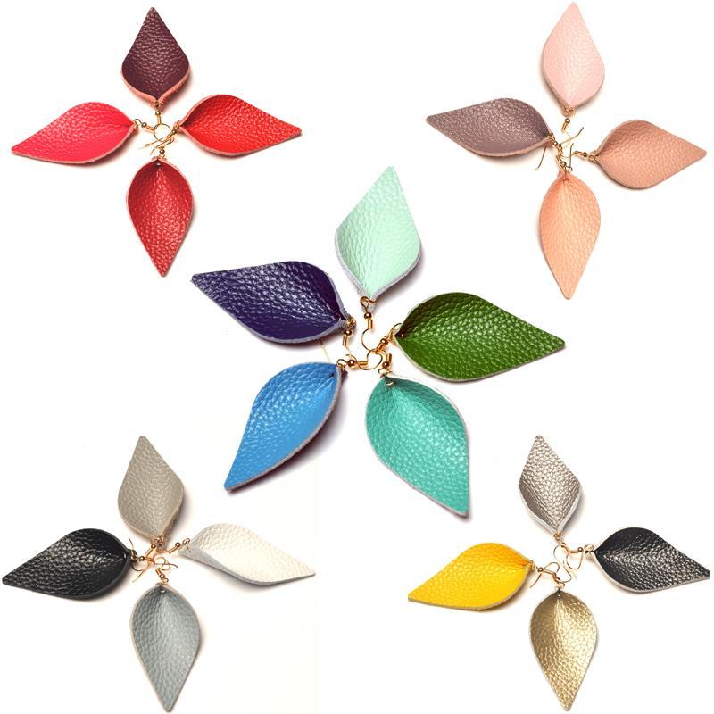 Günlük Giyim Düğün O25FZ için Kadınlar Kızlar Renkli Moda Kulak Süsleme için DHL Deri Küpe Hafif Yaprak Küpe