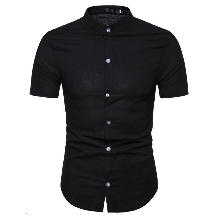 Atacado-2019 New homens de Verão Cotton camisas de linho Homens Effen Cor Slim Fit Curto Mouw Masculino aleatória gola mandarim camisas S -2XL