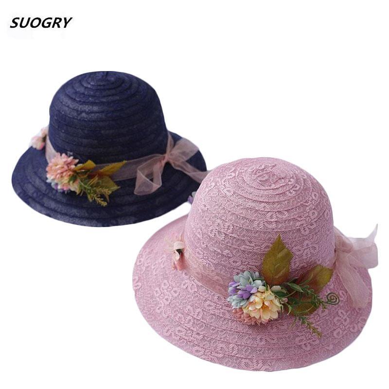 SUOGRY NUOVO elegante del merletto paglia del cappello di Sun per le donne cappello tesa larga signore fiori di pizzo Beach la visiera di Sun Trilby Estate
