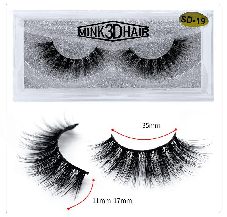 Großhandel SD-Serie SD-19 Natürliche falsche Wimpern 100% handgemachte 3D Faux Mink Lashes individuelle Private-Label