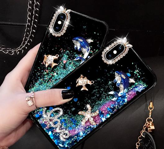 iphone 11 Bling Luxury Designer Quicksand Cell Phone Case for samsung S10 note8 whale Quicksand Mobile Phone Case