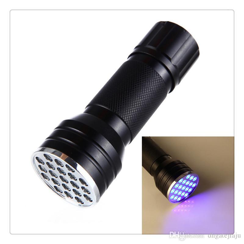 21 LED ультрафиолетовый карманный фонарик с ультрафиолетовой подсветкой, мини-фонарик, переносная лампа подделок детектор поддельных денег оптом
