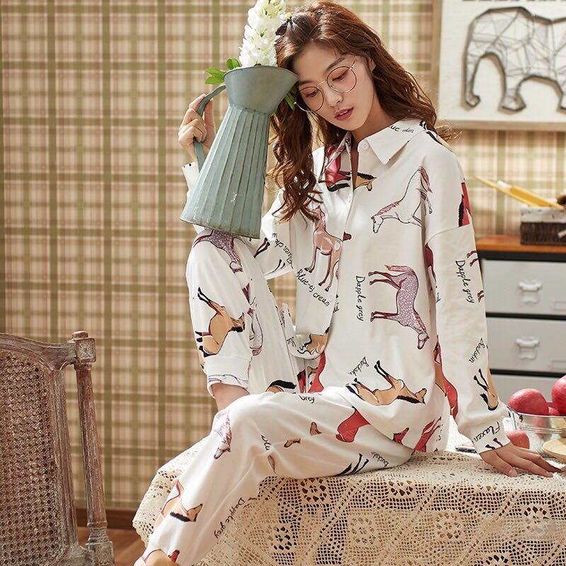 NUEVA MODA 2020 CABALLO DE IMPRESIÓN 100% algodón de manga larga y pantalones Pijamas MUJERES COLORES 2 PCS SET MARFIL M-3XL ENVÍO GRATIS