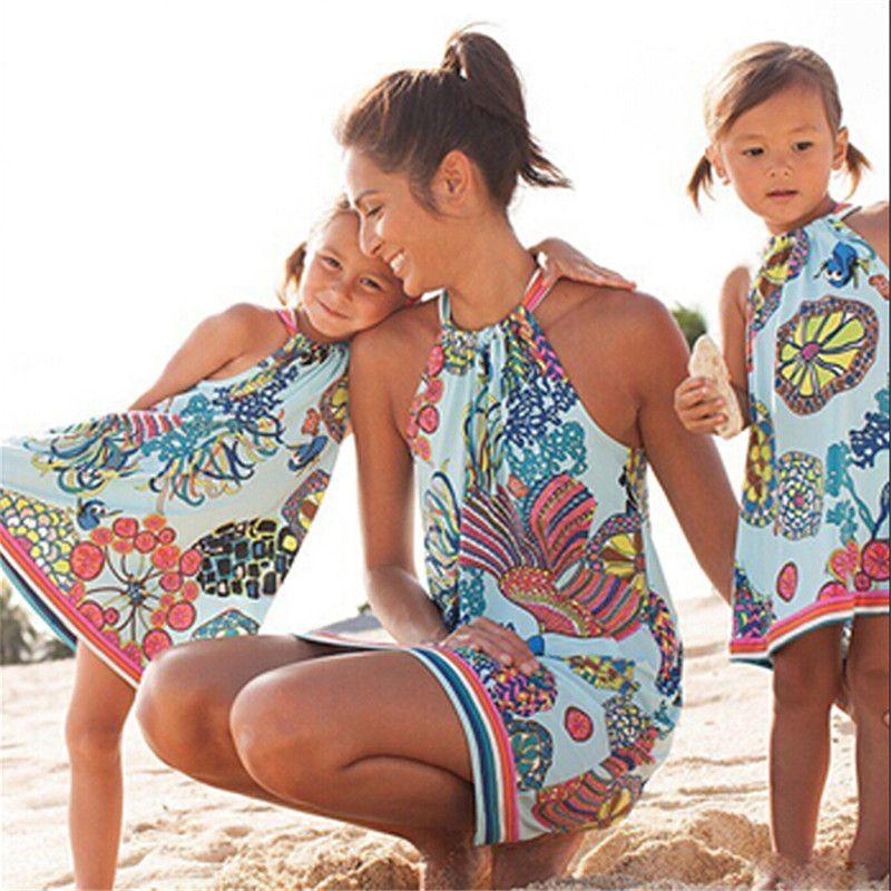 الأم والابنة الأسرة مطابقة اللباس النساء مطبوعة فستان بنات أمي كبيرة ليتل نظرة الأخت الأسرة الملابس مطابقة