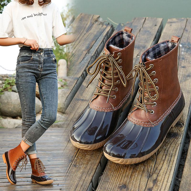 HOT Mulheres Duck botas de neve Chuva sapatos impermeáveis de Inverno para Caminhada Andar pedestrianismo 19ING