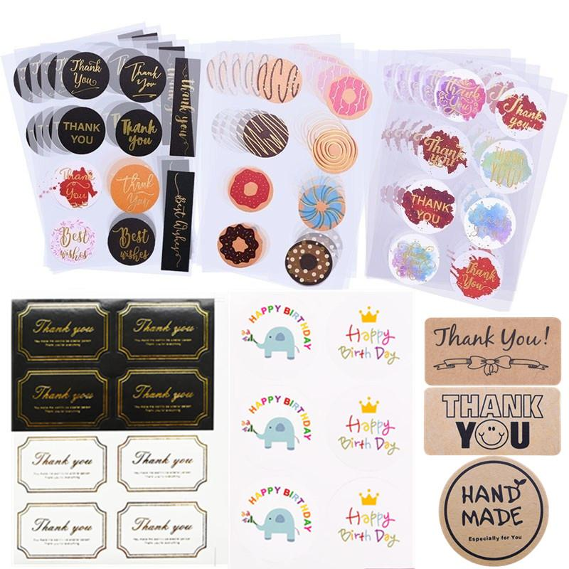 10.05 Blätter danken Ihnen Aufkleber Büttenpapier Etiketten Verpackung Aufkleber für Süßigkeit-Beutel-Geschenk-Kasten-Verpackung Hochzeit Danke Aufkleber
