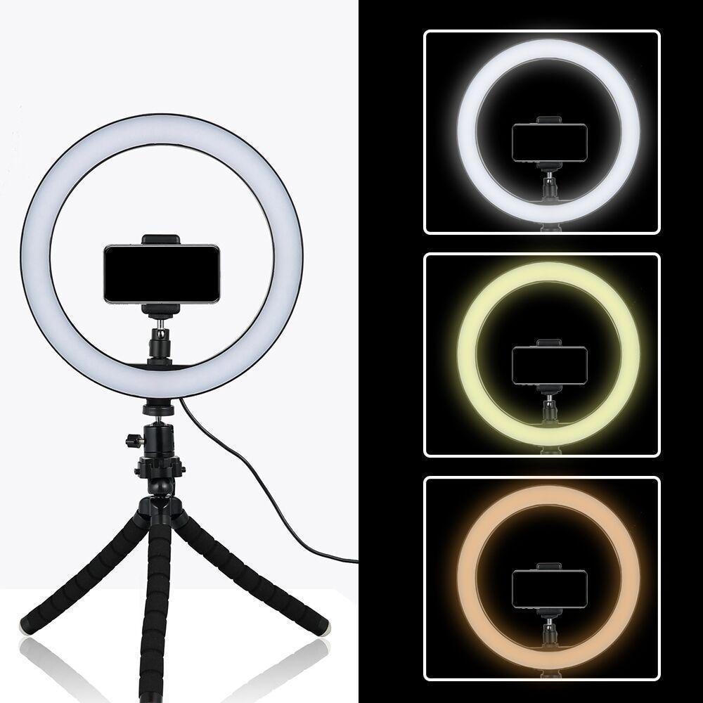 26 cm LED Ring Light Fotografia Regulável Photo Studio Iluminação Vídeo Com Mini Tripé Suporte de Telefone Para Smartphone Maquiagem / Selfie / Blog