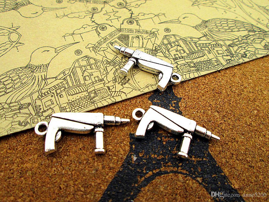 60pcs - Drill Charms, Antique argent tibétain 2 faces Drill pendentifs Charm 27x12mm
