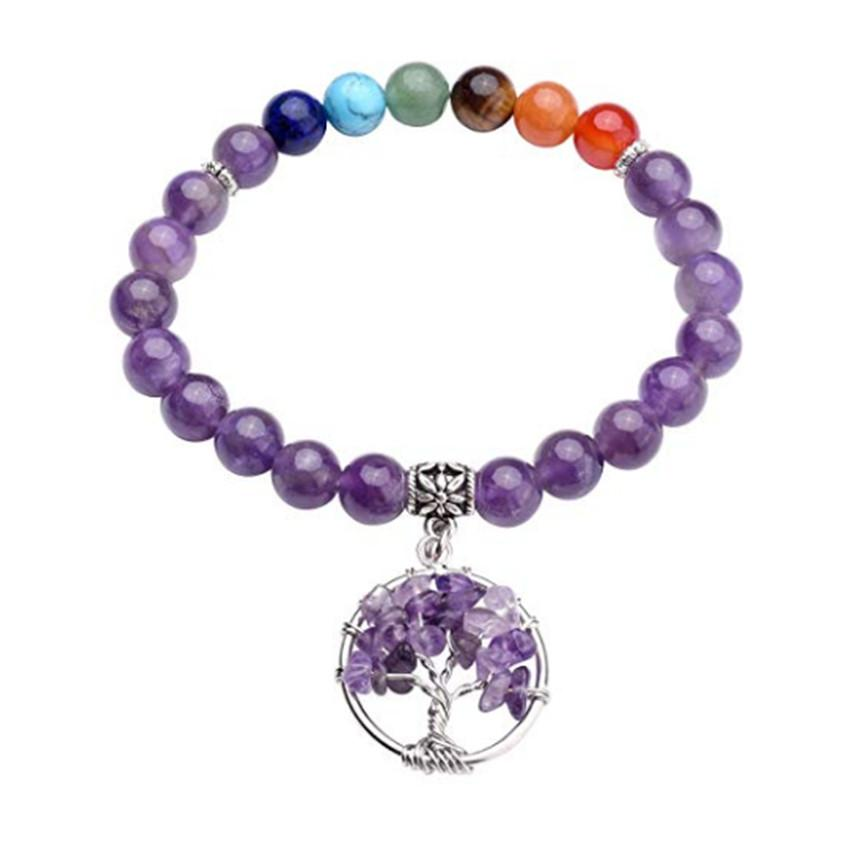 Wholesale 10 Pcs Silver Plated Tree of Life Connect Round Beads Amethyst Stone Elastic Bracelet Rose Quartz Fashion Jewelry
