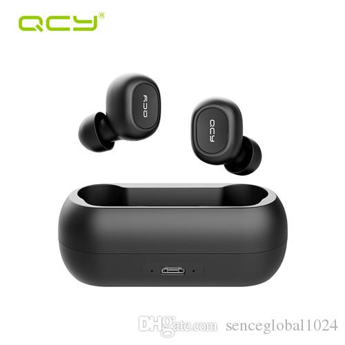 QCY QS1 T1C البسيطة المزدوجة V5.0 لاسلكي سماعات بلوتوث سماعات 3D صوت ستيريو سماعات الأذن مع ميكروفون مزدوج وصندوق شحن