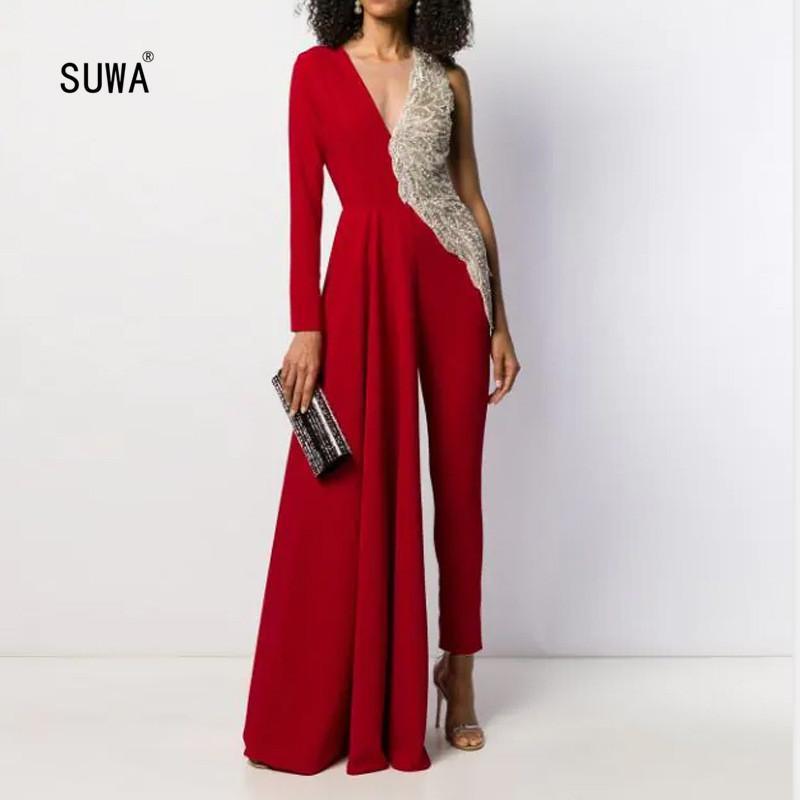 2020 Hot design brillant Patchwork taille haute Big Swing Crayon long Jumpsuit Nouveauté Trendy femmes col en V asymétrique Romper