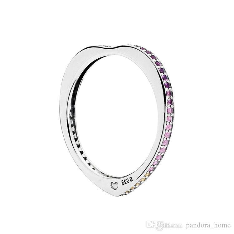 الملونة منحني قلب خاتم 925 الفضة الاسترليني تشيكوسلوفاكيا الماس هدية عيد ميلاد في المربع الأصلي مناسبة لخواتم باندورا عالية الجودة المرأة