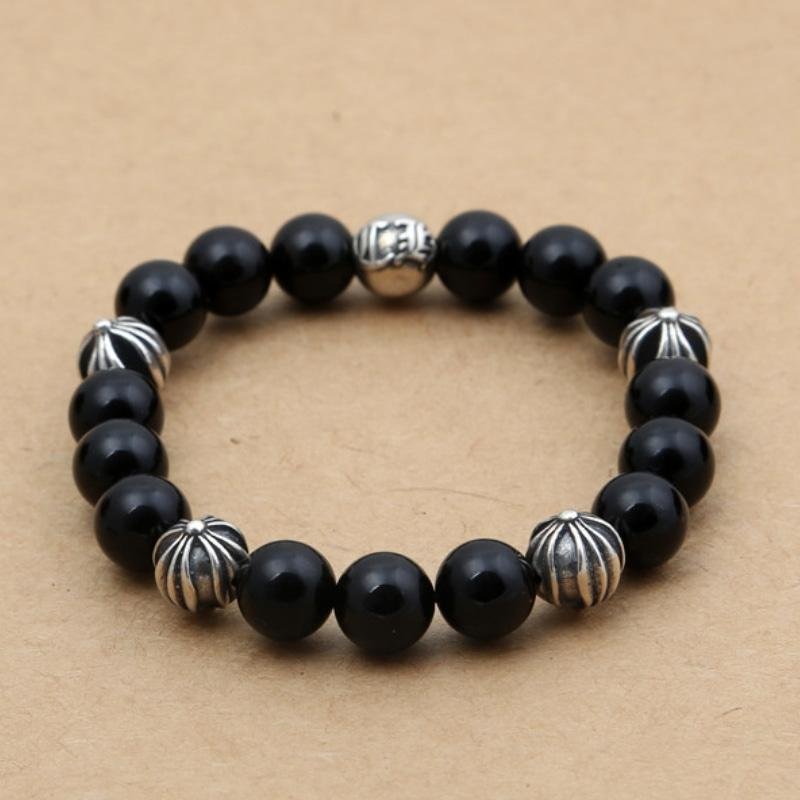 Personalized 925 sterling silver vintage jewelry antique silver American hand-made designer black agate beads strands bracelet