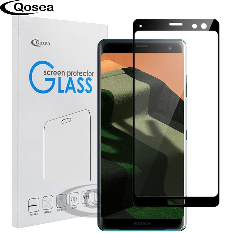Per Sony Xperia XZ3 Vetro temperato 9H placcato 4D anteriore pellicola piena Custodia per Sony Xperia XZ2 XZ3 protezione dello schermo compatta