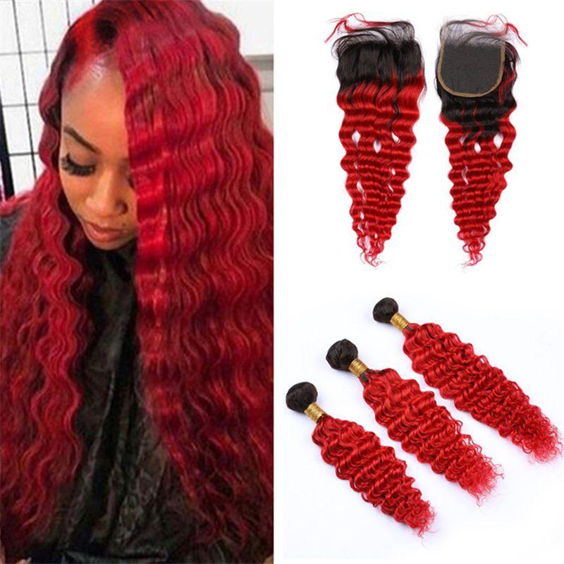Глубокая волна вьющиеся ломбер Красный человеческих волос закрытия и пучки темные корни Красный ломбер девственные перуанские волосы ткет с закрытием кружева