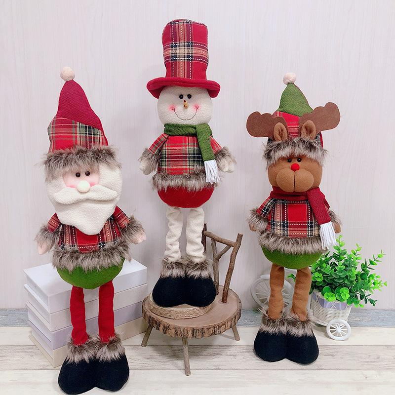 2019 New Big Size Christmas Dolls Retractable Santa Claus Snowman Elk Toys Xmas Figurines Christmas Gift for Kid Tree Ornament