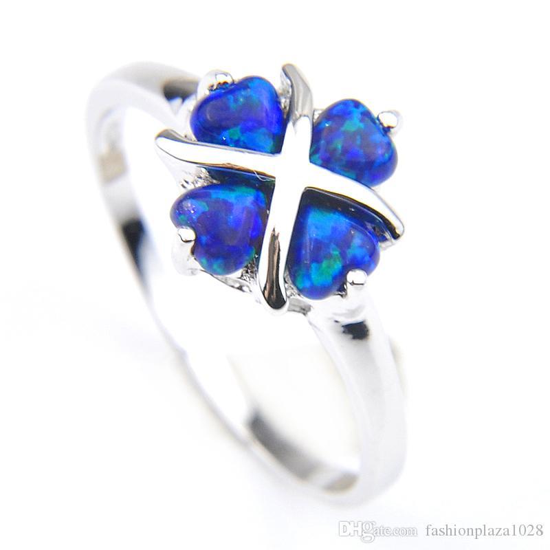 LUCKYSHINE Ferien Schmuck-Geschenk-Herz-Blau Opal Gems Weinlese Sterlingsilber 925 überzog für Frauen Ringe Schmucksachen VERSCHIFFEN frei