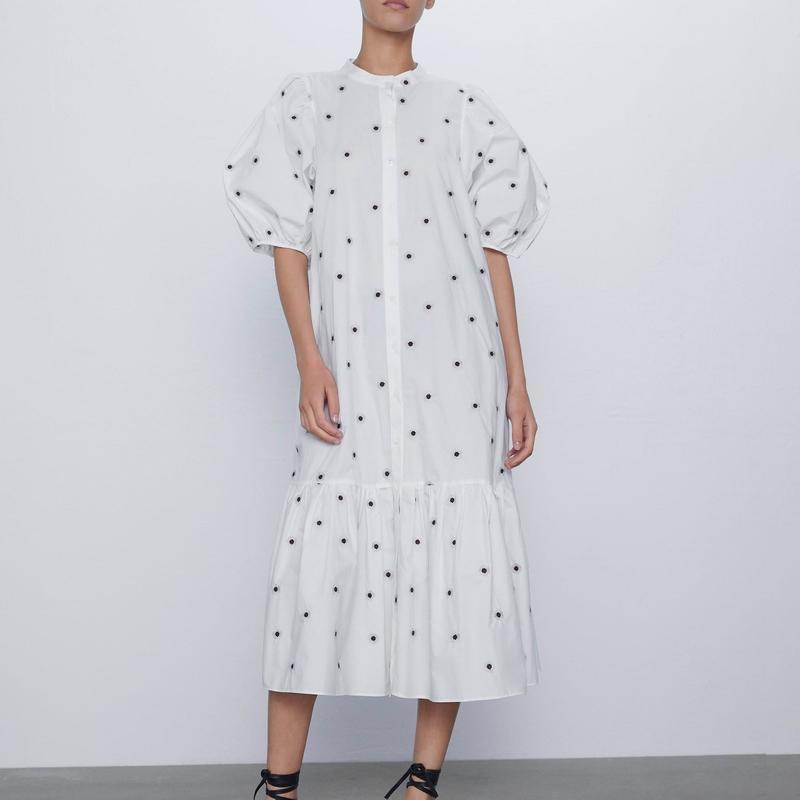 Estate vestito largo e lungo stile 2020 nuovo di modo ricamo manica corta metà polpaccio Women abiti bianchi