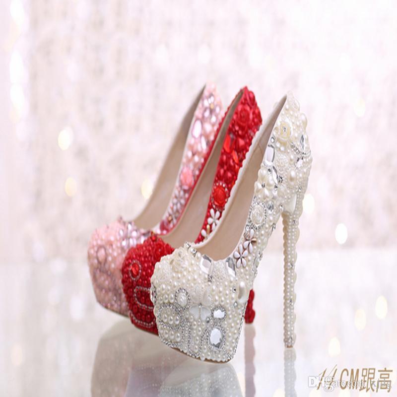 Rosa Avorio abito da sposa le scarpe di lusso sposa realizzati a mano perla strass Diamante economico tacco a spillo Big Small Size di colore fatte su ordinazione o formato
