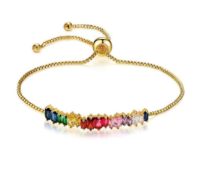 SINLEERY Multicolor Crystal Adjusted Bangle Rose Gold Silver Color Blue Green Yellow Bracelet For Women Jewellower ps0209