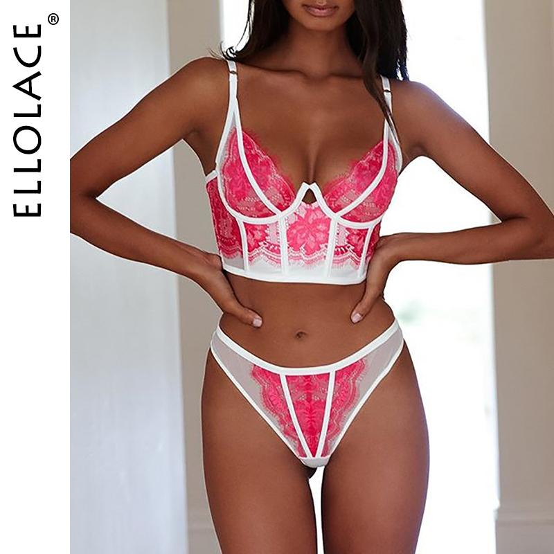 Ellolace Sexy Pink Underwear Set Lace Lingerie Women Patchwork Fashion Bra Brief Sets Mesh Sexy Underwear Lingerie Set 2020 Y200415