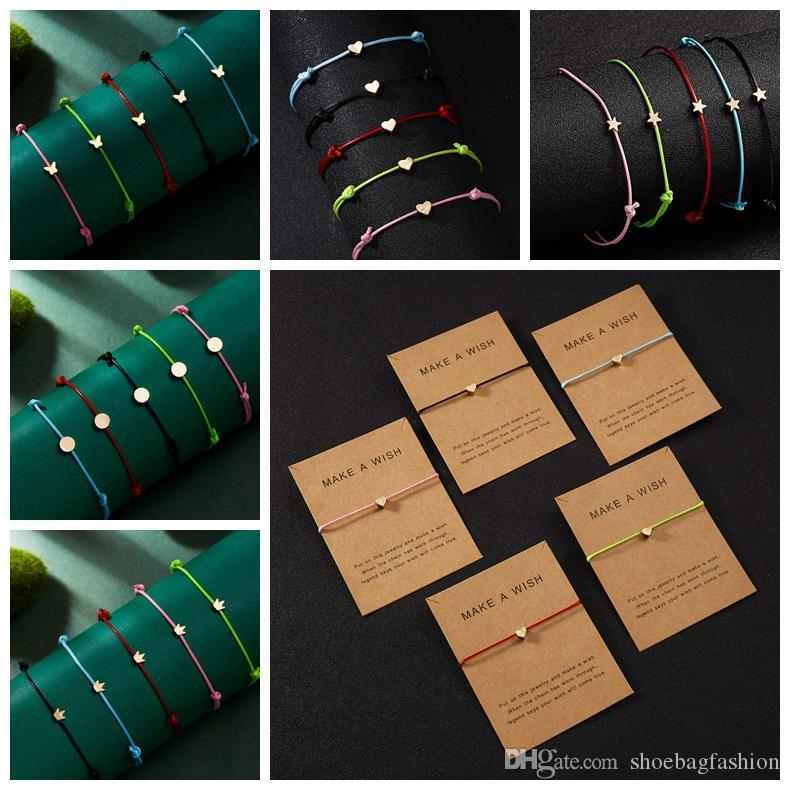 Pentagram Crown Cross Leather Rope Bracelets for Lovers Handmade Rope Chain Bracelets Simple Cute Couple Bracelet Gifts for Women