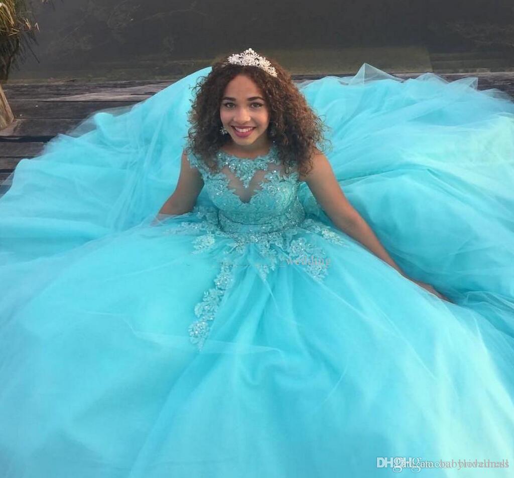 Princesa azul bola vestido quinceañera vestidos encaje apliques con cuentas dulce 16 largos vestidos de baile personalizado vestido de noche hecho a medida ropa formal
