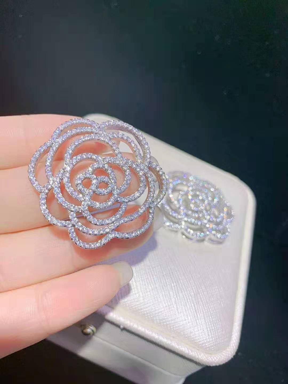 micro circón de grado alto embutido bricolaje accesorios de perlas collar de flores de camelia broche suéter largo de la cadena de enlace del corchete