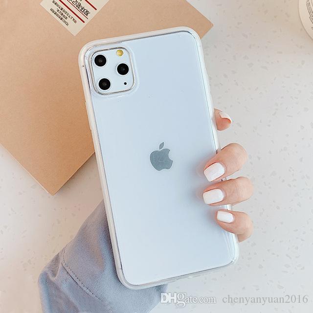 Очистить цвета конфеты телефон случае для Iphone 11 11Pro Max Обложка Мода Анти Knock Зеркало силиконовый чехол