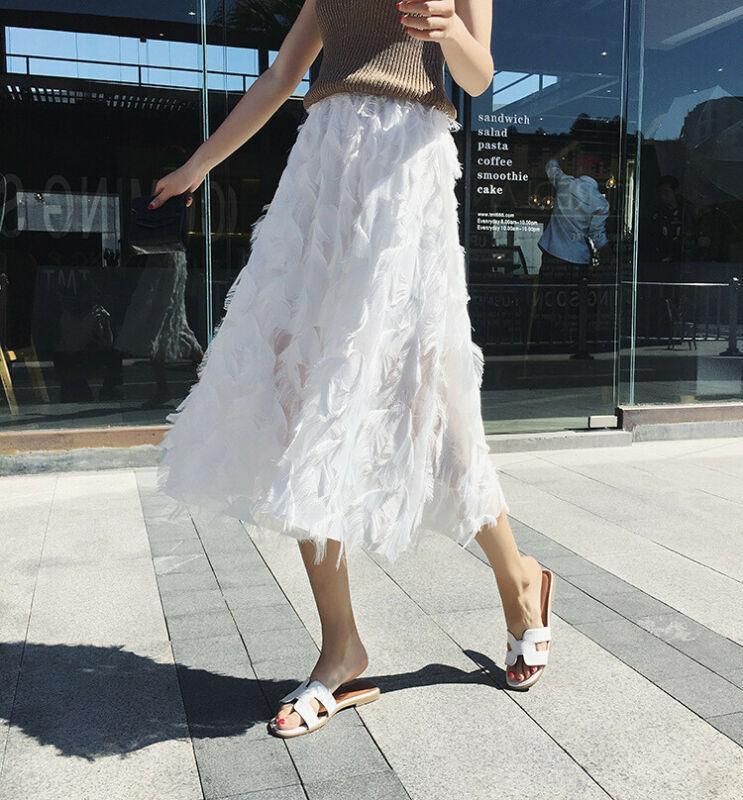 Al por mayor-Mujeres de talle alto en niveles de malla en capas Ballet Prom Party tul una línea elegante falda de Midi mullido rizada larga de las señoras faldas del tutú