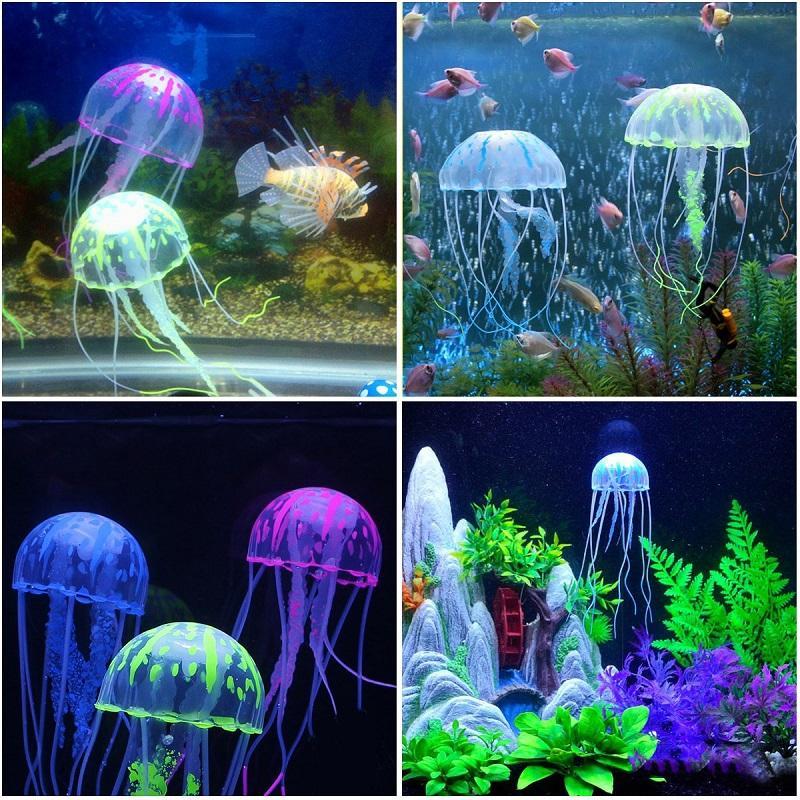 New Artificial Swim Glowing Effect Jellyfish Aquarium Decoration Fish Tank Underwater Live Plant Luminous Ornament Aquatic Landscape