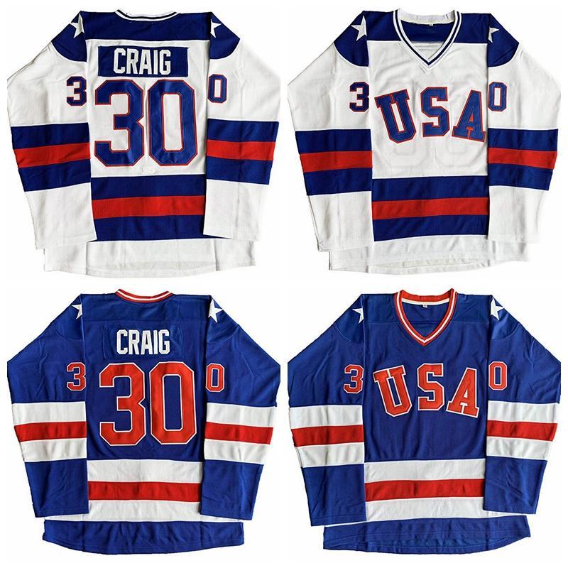 Jim Craig 30 Wunder auf Eis Team USA Film Männer Hockey Jersey Blau Weiß Nähed S-3XL Top Qualität