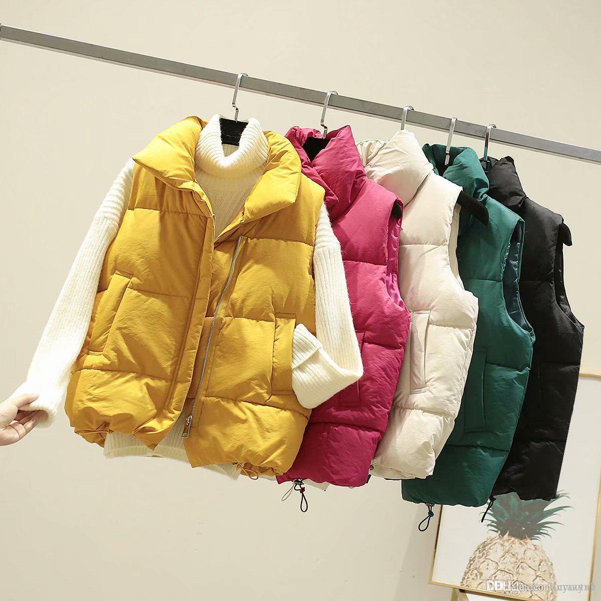 Pamuk Coat eskitmek Kış Yelek Kalın Bölüm tutun Sıcak Yelek Coat Yatak açma Yaka Katı Soğuk Sezon Coat Kadın giyim