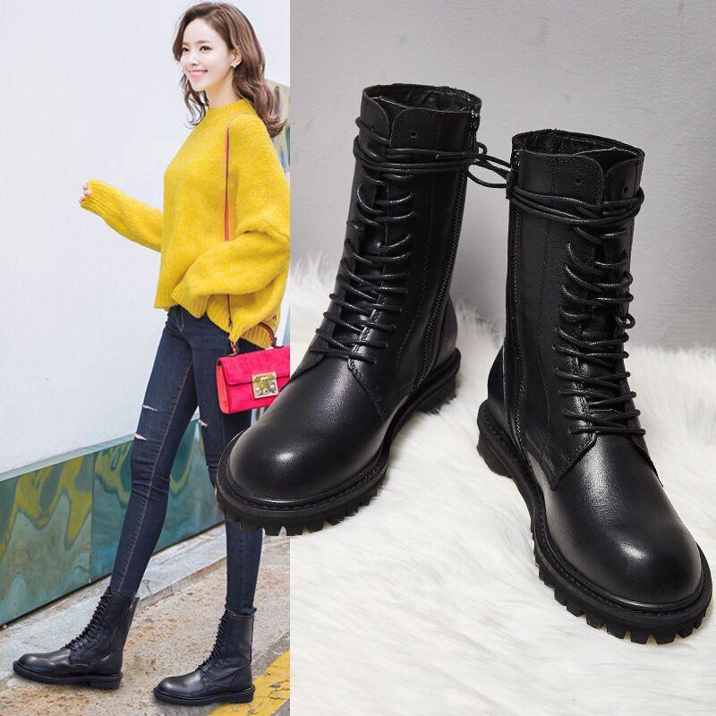 Ingt 2020 nuevas mujeres del estilo botas de cuero de la motocicleta botas de moda tendencia genuina niñas zapatos de las mujeres