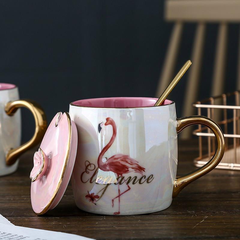 NEWYEARNEW Flamingo-keramische Becher mit Strohschale Drinkware-Wasser-Kaffeetasse-Milchmädchenfrühstück Liebhaber-Valentinsgruß-Geschenken