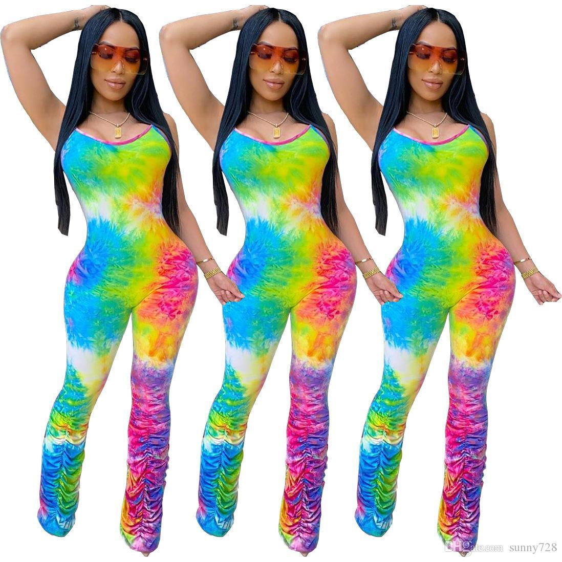 Multicolorido Impressão Mulheres Macacões Ruffles Ruched tornozelo mangas Neck U Backless forma da senhora macacãozinho Partido 2020 Hot Summer Sale