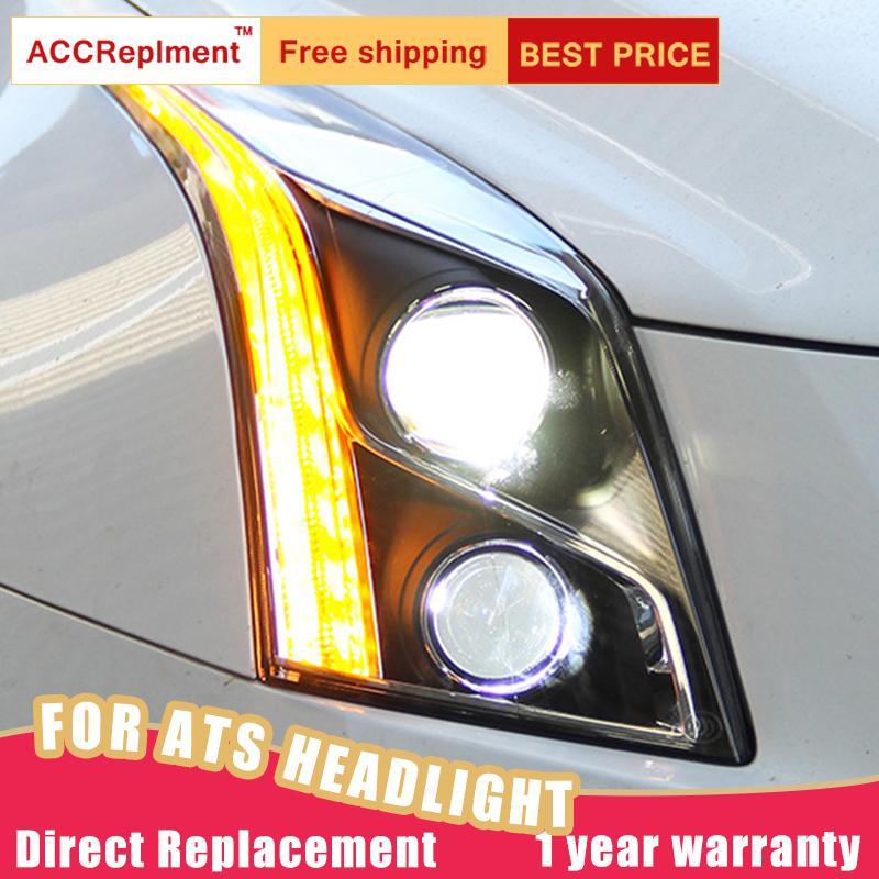 2Pcs LED Headlights For ATS 2013-2018 led car lights Angel eyes xenon HID KIT Fog lights Daytime Running