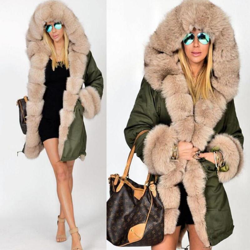 معطف فرو إمرأة فو سترة طويلة السيدات التمويه الجديد 2018 الشتاء مبطن سترة الياقة الفراء مقنع المعطف بالاضافة الى حجم 4XL 5XL