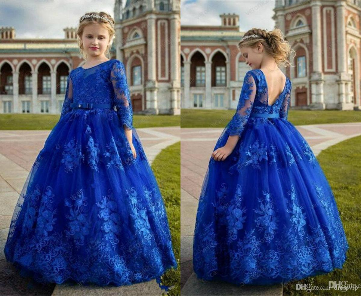 Royal Blue Flower Girls Dresses Long Sleeve Lace Appliques Jewel Neck Floor Length Girls Prom Gowns For Wedding First Holy Communion Dress