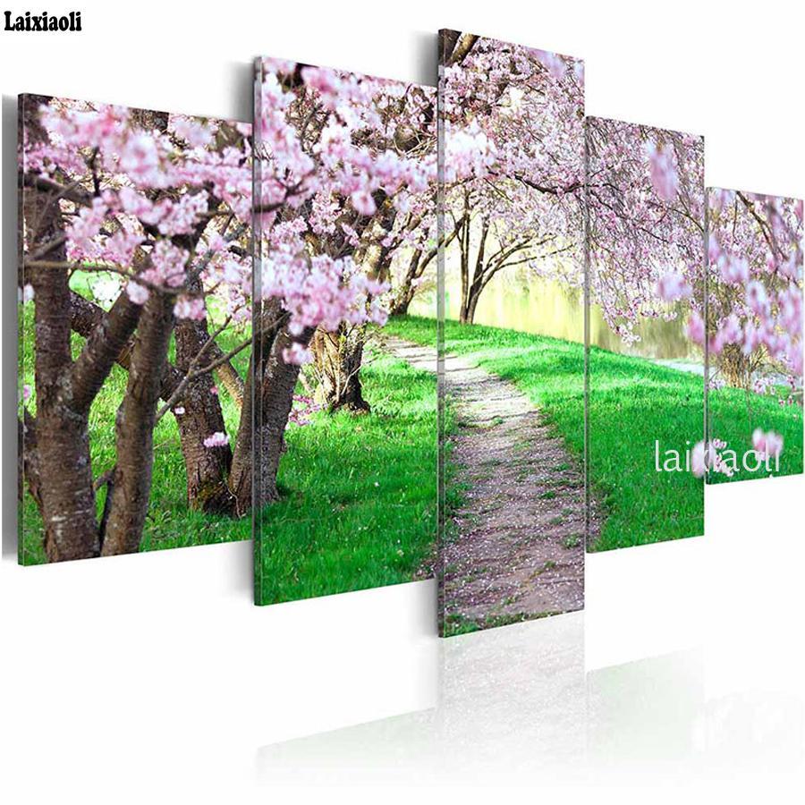 الماس التطريز رمز فسيفساء 5D ديي اللوحة الماس أزهار الكرز صور، الأشجار الوردي حديقة اللوحة لغرفة 5 جهاز كمبيوتر شخصى