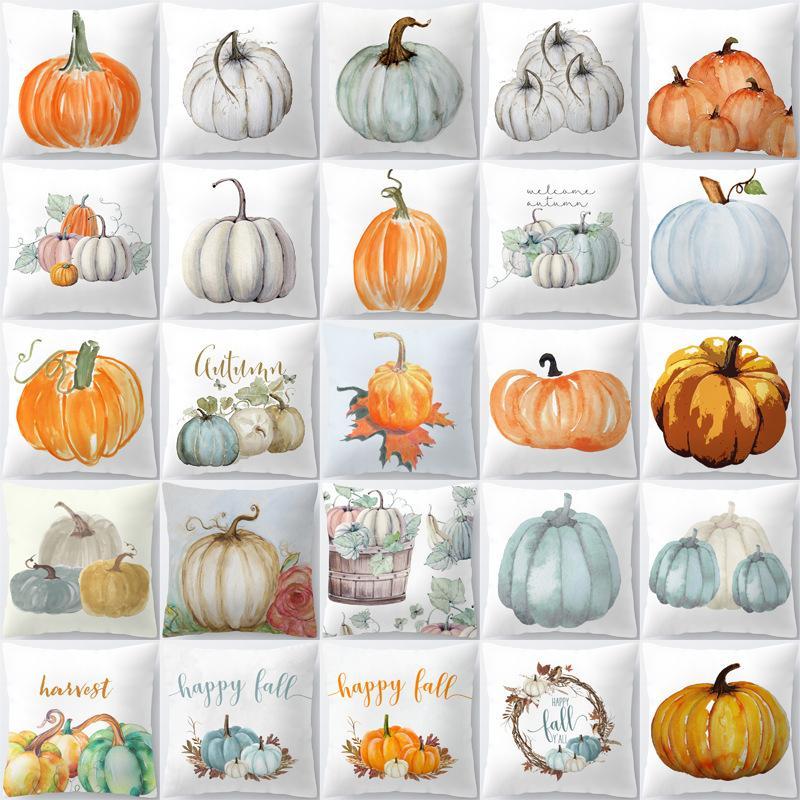 Halloween Christmas Thanksgiving Pumpkin Cushion Cover Polyester Farmhouse Decor Pillow Case Home Decor Sofa Car Decoration