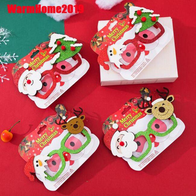 100pcs de Navidad adornos para la decoración del hogar Año Nuevo Gafas regalos para los niños de Santa Claus ciervos muñeco de nieve Adornos de Navidad de DHL